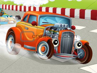 The happy cartoon hod rod - city look - race