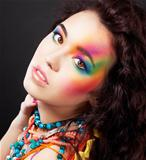 Creative colorful makeup - fashion beauty woman painted face
