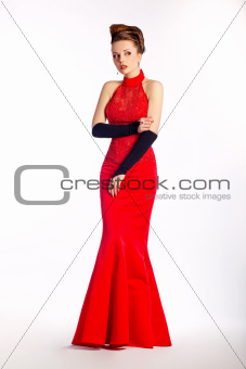 Wedding elegant bride - modern bridal red dress, black gloves