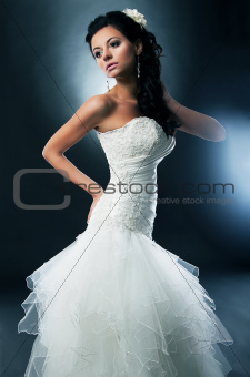 Pretty disirable bride - photo model in wedding white dress