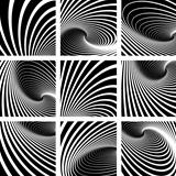 Illusion of vortex motion. Abstract backgrounds set.
