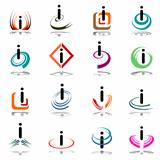 "Abstract icons with letter ""i"". Design elements set."