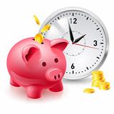 Pink pig bank with coins and clock