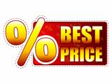 best price label with percentage symbol