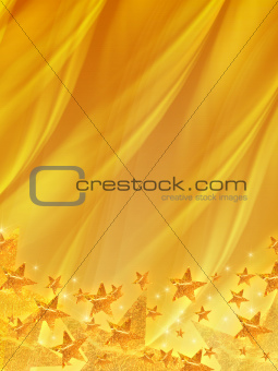 shining stars over golden background