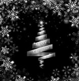 Abstract silver ribbon Christmas tree