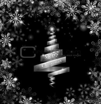 Abstract silver ribbon Christmas tree