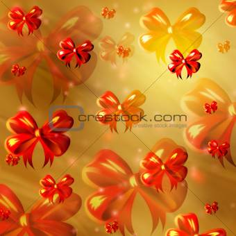 abstract yellow background with orange ribbons