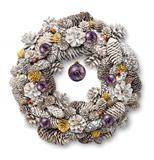 White Christmas wreath purple balls