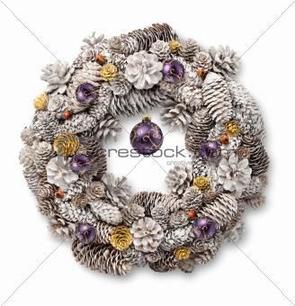 White Christmas wreath purple balls