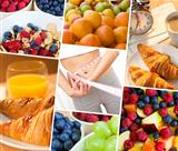 Montage Woman &amp; Fresh Healthy Diet Food Lifestyle