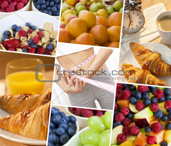 Montage Woman & Fresh Healthy Diet Food Lifestyle