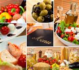 Healthy Italian Mediterranean Food Menu Montage 