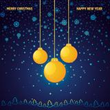 Blue Christmas background with a yellow glass ball