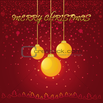 Red Christmas background with a yellow glass ball