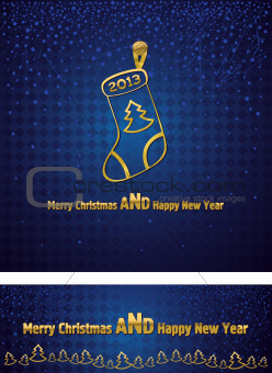 New Year and Christmas background with a gold Christmas sock