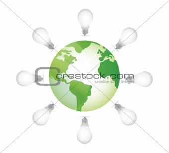 lightbulbs and globe