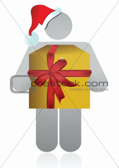 christmas icon holding a present