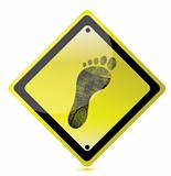 yellow footprint sign