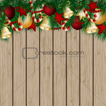 Christmas card with Christmas tree branches and balls.