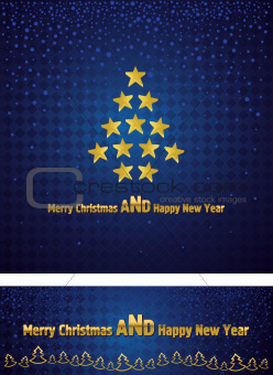 New Year and Christmas background with a gold tree stars
