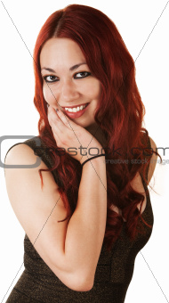 Cute Woman with Hand on Chin