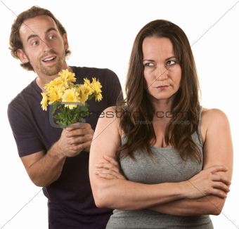 Skeptical Lady with Smiling Man