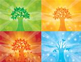 Four Seasons Tree Background Illustration
