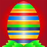 Easter background with egg and leaves