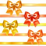Golden and bronze bows of silk ribbon