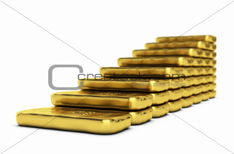 gold growth over white
