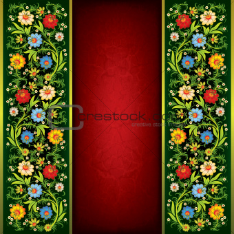 abstract grunge floral ornament with color flowers