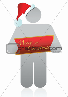 christmas icon holding a banner