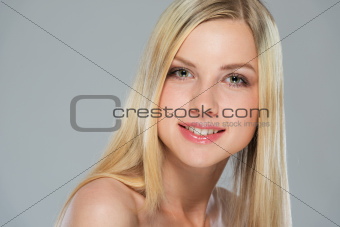 Portrait of happy girl with blond hair