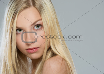 Portrait of blond hair teenage girl