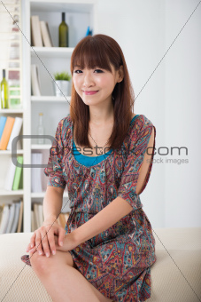asian woman smiling with lifestyle background