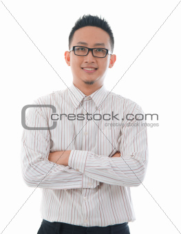 confident looking business man isolated on white background