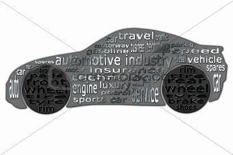 Automotive industry, clouds of words and sports car