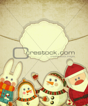 Vintage design of Christmas and New Year's Postcard