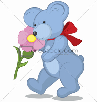 Blue Teddy bear with flower
