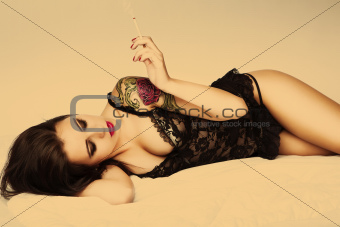 tattoo pin up girl with cigarette