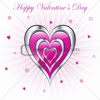 Valentine hearts with sunburst background
