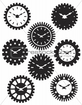 Clock Face in Gears Silhouette Illustration