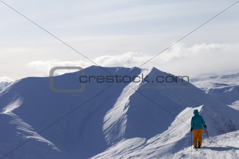 Skier on top of mountain