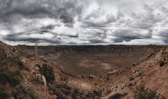 Panoramic view of Meteor Crater in Arizona