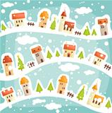 Winter  village background