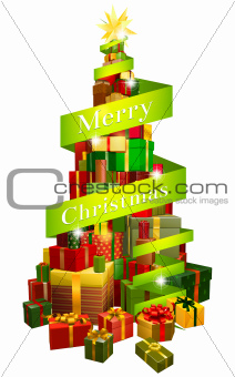 Gifts tree with Merry Christmas ribbon