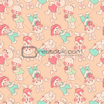 Seamless pattern - rabbits.