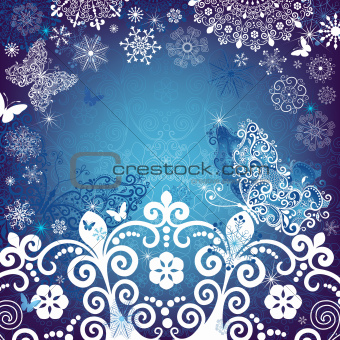 Christmas white-blue frame