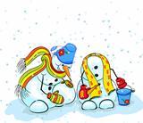 snowman sculpts snowman